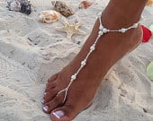 Wedding Barefoot Sandals, Pearl and Crystal Barefoot Sandals, Beach Barefoot Sandal, Bridal Foot Jewelry, Footless Sandal