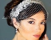 Leslie Li Monica Style Crystal Bridal Birdcage Veil with Crystal Comb