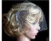 White French face veil birdcage with Swarovski crystals decorated. Russian net ,with comb on each side ready to wear.
