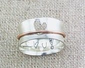 Personalized Ring Personalized Heart Spinner Ring Handwriting Ring Custom Jewelry Mixed Metal Ring Cutout Heart Ring Love Ring