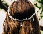 Flower Girl Crown, Silver Or Gold Leaf Hair Jewelry, Leaf Headpiece, Backward Leaf Headband