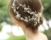Gold floral headband and earrings set,Crystal flower hair band ,Bridal Headband, Wedding Hair Accessories, Wedding Headband,TJ61