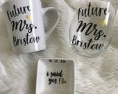 Engagement Gift, Gift for Bride to be, Engagement Gift Set, Wedding Planning Gift, Future Mrs Glass, Future Mrs Mug, Ring Dish, Heart