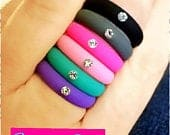 Silicone Rings Womens Wedding Band w/Rhinestone, Black, Gray, Pink, Purple, Turquoise
