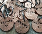 Be safe penny pendant gift for LEO husband gift police firefighter military deployment be safe lucky penny add to keychain gift for him her