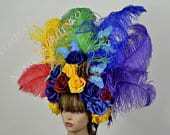 Rainbow Flowers Headband Wreath Wedding Hat Kentucky Derby Hat Coctail Hat Couture Fascinator Bridal Hat Gay Pride Parade Crown