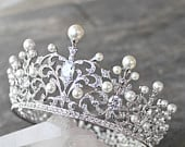 Full Bridal Crown, Swarovski Crystal Wedding Crown, WILLA Silver Bridal Diadem, Crystal Wedding Tiara, Diamante Tiara, Bridal Tiara