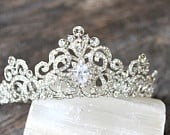 Full Bridal Crown, Swarovski Crystal Wedding Crown, CORINNE Silver Bridal Diadem, Crystal Wedding Tiara, Diamante Tiara, Bridal Tiara