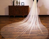 New Bright Flashing Yarn Super Long Tailed Yarn Bride Luxury Headwear Soft 1 Tier Wedding Veil Cathedral Veil Bridal Fingertip Veil