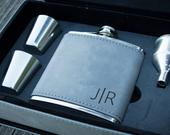 New Job Gift for Him Personalized Vegan Leather Engraved Flask for Men