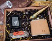 Groomsmen Gift Box Set, Groomsmen Flask Set, Boyfriend Gift For Groom From Bride, Engraved Pocket Knife