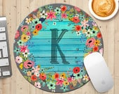 Rustic Flowers on Turquoise Wood Initial Mouse Pad, Monogram Wild Flowers Wreath Mousepad, Mothers Day Gift, Boho Chic Mouse Pad