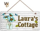 Cottage Sign, BLUE Garden Flowers in Mason Jar, Personalized Sign, Custom Name Change, Great Gift, 5 x 10 Sign by Woodland Crew