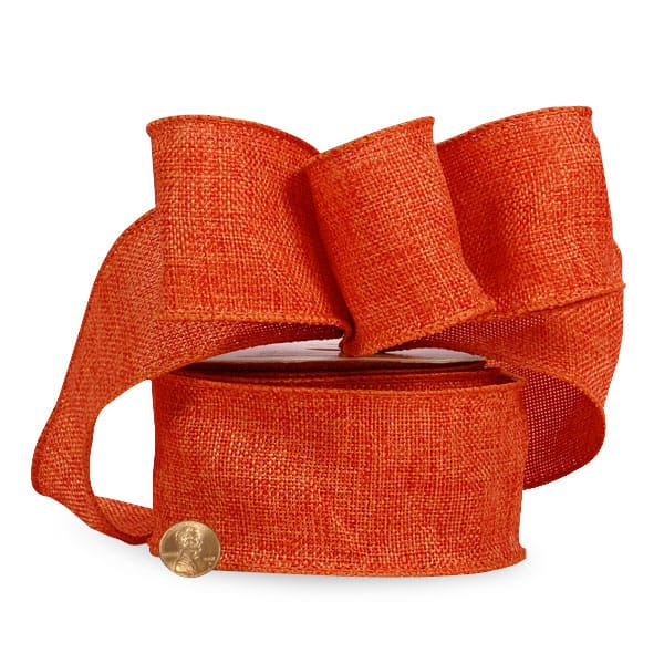 "2 1/2"" X 10 Yards Jute Colored Orange Wired Faux Burlap Ribbon by Ribbons.com"