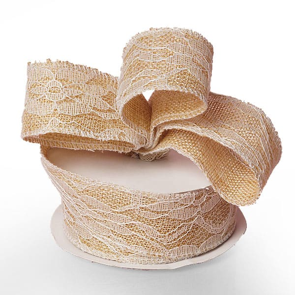 "Ivory Floral Lace Burlap Ribbon - 1-1/2"" X 10 Yards - by Paper Mart"