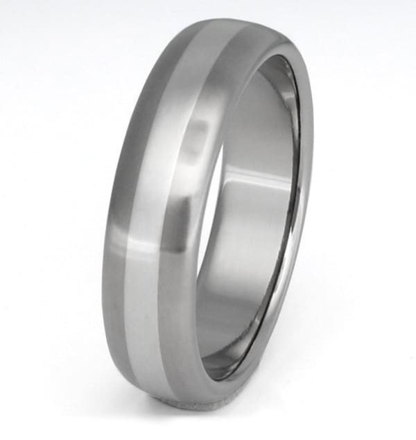 Titanium and Platinum Inlay Wedding Band Ring