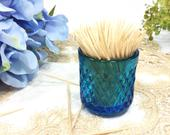 Blue Glass Toothpick Holder, Blue Glass Bud Vase, Blue Vase, Blue Toothpick holder B412