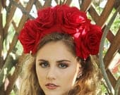 Large Red Rose Flower Crown Headband (Mexican Wedding Bridal Headpiece Bride Party Music Festival Boho Gypsy Bridesmaids Adult Wreath Party)