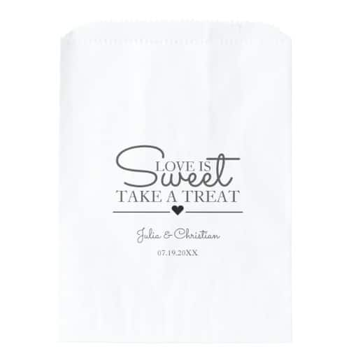 Elegant Rustic Script Love is Sweet Wedding Favor Bag