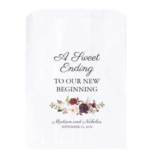 Marsala and Pink Floral Wedding Favor Bags