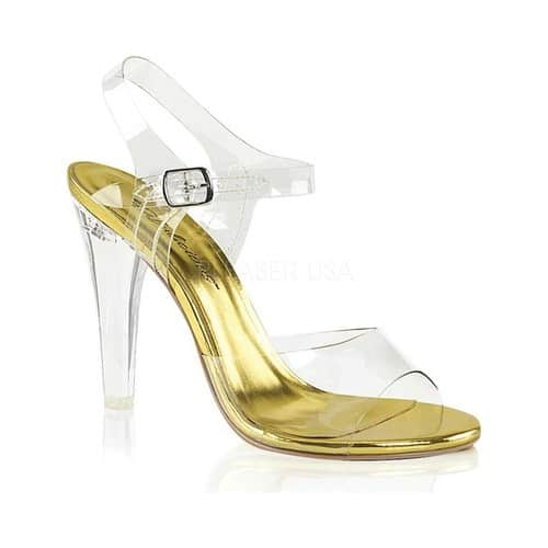 Women's Fabulicious Clearly 408 Ankle-Strap Sandal, Size: 8 M, Clear PVC/Lucite-Gold