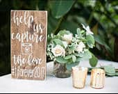 Wedding Hashtag Sign Wood Wedding Hashtag Sign Help Us Capture the Love Wood Wedding Sign Wedding Reception Sign Rustic Wood Sign
