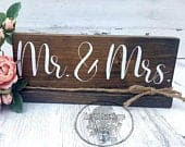 Mr. and Mrs. Sweetheart Table Rustic Wedding Decor Wood Table sign Sweetheart table Plaque Wedding Centerpiece Mr. Mrs. Signs
