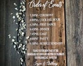 Order of Events Wedding Day Sign, Rustic Ceremony Events Sign, Best Day Ever Sign, Rustic Wedding Decor, Wood Wedding Events Sign
