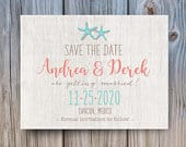 Starfish Beach wood wedding save the date postcard Tropical Nautical Beach Save the Dates Cards Rustic Country Destination mint coral