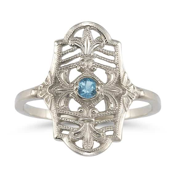 Vintage Fleur-de-Lis Blue Topaz Ring in .925 Sterling Silver