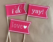 10 Photo Props / Flags on Sticks / Banner Flag / Photobooth Prop / Celebration Flag / Pennant on Stick / Photo Booth Prop / Wedding Favor