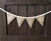 NAME and LACE Burlap Banner, Bunting, Garland, Pennant, Photo Prop, Wedding Decor, Nursery Decor, Baby Shower