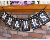MR MRS Wedding Banner in Chalkboard Style Wedding Decoration Download and Print instantly