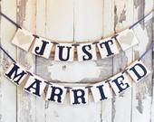 Just Married Banner, Just Married sign, Just married banner for golf cart, wedding banner, photo prop, Just Married sign, Wedding