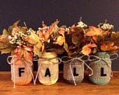 Fall Flower Mason Jars