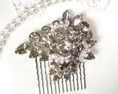 OOAK Vintage WEISS Gray Bridal Hair Comb/Dress Sash Brooch, Silver Rhinestone Black Diamond Smokey Grey Crystal Wedding Accessory Headpiece