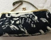 Vintage 1950s black white animal print faux fur purse handbag clutch retro midcentury rockabilly kitschy Mothers Day birthday gift