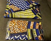 Womens 8 10 Ankara Print Clutch Bag n headwrap SET Blue Yellow Wedding Formal Casual Prom Black History Wedding Bridal Party Shower Gift