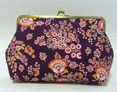 Purple Vintage Style Clutch, Fun Floral Purse, Bridesmaid Clutch, Purple Floral Clutch, Funky Handbag, Mustard Clutch, 7inch Clasp