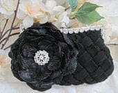 Black Pleated Front Satin Rhinestone Framed Wedding Bridesmaid Clutch with Black Jacquard Flower and Rhinestone Accent Purses Hand Bags