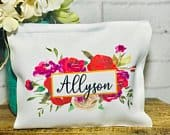 Bridesmaid makeup bag, custom makeup bag, cosmetic bag bridesmaid, set of makeup bags for bridesmaids, with name, monogram makeup bag, name