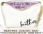 Graduation gift, Personalized makeup bag Canvas cosmetic bag gifts for graduation Zipper pouches make up bag graduation gifts for