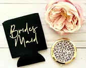 Leopard Bridesmaid Proposal Gift Set Black Bridesmaid Gift Gifts for Women Can Cooler Maid of Honor GIFT SET Compact Mirror