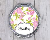 Personalized Compact Mirror Bridesmaids Gift Custom Purse Mirror Blush Rose Bridal Party Gifts Custom Wedding Party Gift Idea Floral