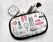 Cosmetic Bag, Matching Mirror, Makeup Case, Toiletry Bag, Zippered Pouch, Travel Bag, Washable Bag, Neoprene, Bridesmaid Gift, Makeup Holder