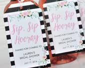 Bridal Shower Favors Tags for Mini Wine Bottles, Wedding Favors, Mini Champagne Tags, Personalized Wedding Tags, Black Floral Set of 12