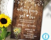 Elopement wedding invitation, Rustic wood, sunflowers and lights, wedding reception, Instant Download, Edit with Templett, A3151