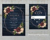 Romantic Rustic Navy Floral Fall Wedding Invitations,Geometric Frame,Burgundy,Dusty Pink,Roses,Navy Barn Wood,Rose Gold,Shimmery,Printed