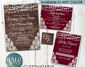 Rustic Lace Wedding Invitations,ANY COLOR,lace and lights,rustic wood invitation,Burgundy invitation,red wedding,wedding invitation,