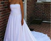 MarieBeautiful Strapless Wedding Gown with Lace Trim At The Waist